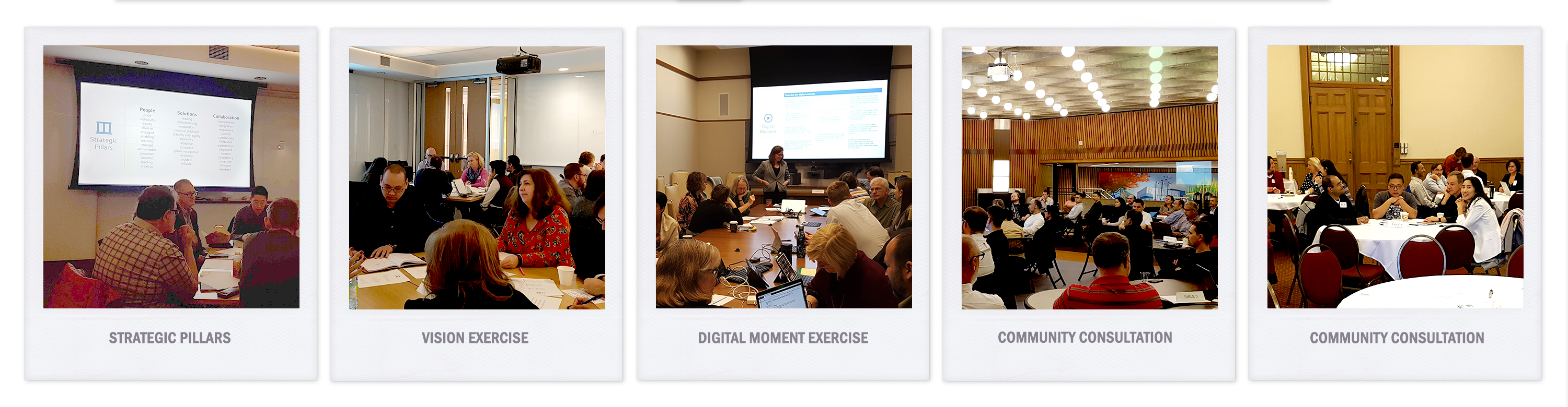 photos from IT at U of T strategic planning sessions with all ITS staff, IT leaders, and steering committee
